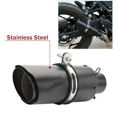 51mm Motorcycle Exhaust Muffler End Pipe Tips Stainless Steel Black Accessories