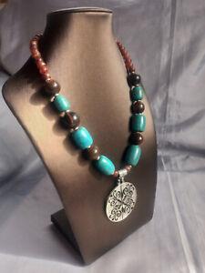 Faux turquoise & wood beaded decorative metal pendant necklace statement boho