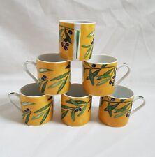 ❀ڿڰۣ❀ GUY DEGRENNE Olive Branch OULIVEIRO Set of 6 PORCELAIN ESPRESSO CUPS ❀RARE