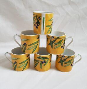 ❀ڿڰۣ❀ GUY DEGRENNE Olive Branch OULIVEIRO Set of 6 PORCELAIN ESPRESSO CUPS ❀ڿڰۣ❀