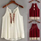 Women Embroidered Cami Tassel Drawstring Blouse Tank Tops shirt Halter Vest LOT