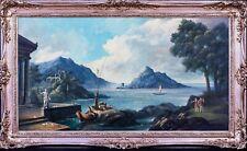 Large 19th Century Classical Italian Arcadian Landscape Antique Oil Painting