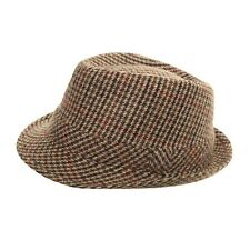 Tweed Hat Ladies Mens Boys Trilby fedora Herringbone Wool Mix Country Classic