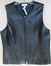$198 NWT Talbots Leather Vest Black Zippered Petite  14