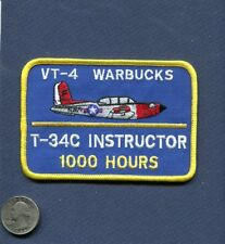 VT-4 WARBUCKS T-34 C MENTOR 1000 FLIGHT HOURS US NAVY USMC Squadron Patch