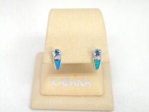 Authentic Kabana 14k White Gold, Diamond, Aquamarine, Opal Inlay Dangle Earring