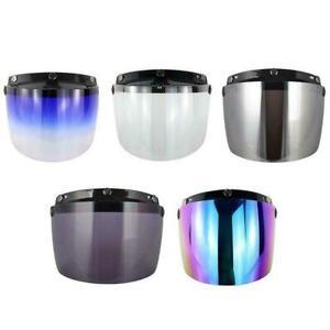 Motorcycle Wind Shield Helmet Lens Sun 3-Snap Visor Up Full US Flip Open E8G4
