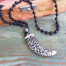 ONYX Edelstahl Horn Kette Rosenkranz Tigerzahn Silber necklace SKULL Spartan 4