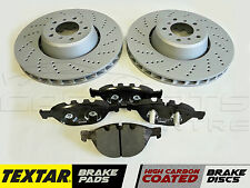 FOR BMW E60 E61 M5 5.0 FRONT LEFT RIGHT BRAKE DISCS & TEXTAR BRAKE PADS 2004-
