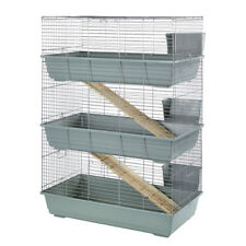Little Friends Rabbit 100 Triple Tier Indoor Guinea Pig Cage Hutch Grey/Silver