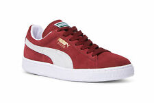 Puma Mens Cabernet Red White Suede Leather Classic+ Trainers Sneakers Shoes