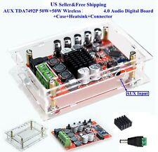 AUX TDA7492P 50W+50W Wireless B T 4.0 Audio Digital Amplifie+Case Kit US