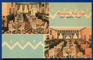 Mexican Inn Cafe Fort Worth Texas tx old linen Postcard