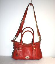 Fossil Maddox Long Live Vintage Red Leather Satchel Bag