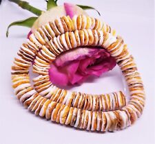 """NATURAL SALTWATER SPINY OYSTER SHELL DISC BEADS 12mm 16"""" STRAND CREAM ORANGE"""