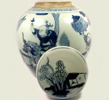 "Exceptional 19thC Blue and White ""Ming"" Official Rides Foo Dog Jar+Lid China"