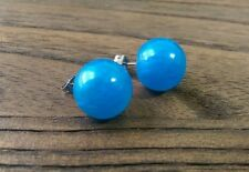 Hand Made Resin Blue Pearl Ball Stud Earrings 14mm Stainless Steel