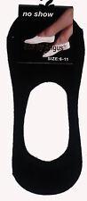 NEW LADIES SZ 6-11 BLACK COTTON NO SHOW SOCKLETS/FOOTLETS