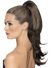 Pince marron en queue de cheval extension cheveux faux faux perruque robe fantaisie P7351