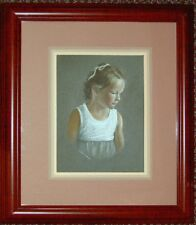 Framed Original Pastel Drawing Little Girl Portrait Sally Porter Figure Art