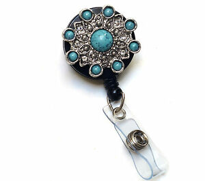 Retractable ID badge holder reel - Turquoise Stone