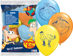 """6 pc 12"""" Phineas & Ferb Party Latex Balloons Happy Birthday Disney Agent P Perry"""
