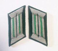 WW2 GERMAN ARMY OFFICER LIGHT GREEN PIPING COLLAR TABS GREEN UNDERLAY