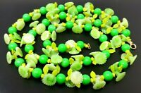 VINTAGE Green Flowers Lucite Floral Beaded Necklace 36""
