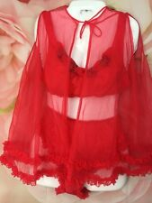 "Vintage Sheer Single Layer Chiffon Red Babydoll Nightgown Panties Bra L Bust 34"""