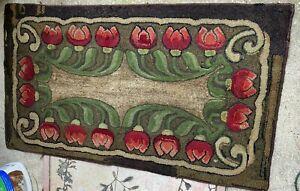 Art Crafts Tulip Design Rag Hooked Rug, Voysey Morris Style, Buy It Now
