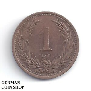 Austria Hungary - 1 Filler 1892 KB Kremnitz Copper