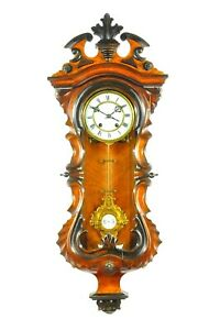Amazing Antique German C.Werner Serpentine Spring Driven Wall Clock approx. 1880