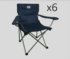 6 x Royal Blue folding camping chair with cup holder