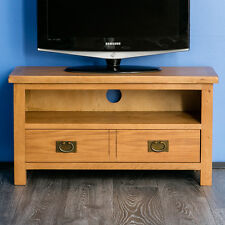 Surrey Oak TV Stand Rustic Solid Wood Small Television Unit Waxed Wooden Cabinet