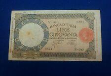 Bella banconota da 50 lire lupa con simbolo del FASCIO