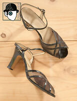 VINTAGE 70s SHOES 'CHIMENE' PEEP TOE PATENT LEATHER ANKLE STRAP - UK 6 - (Q)