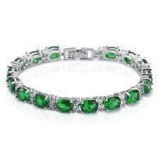 925 Sterling Silver Oval Shaped Green Emerald & White Topaz Tennis Bracelet 7""
