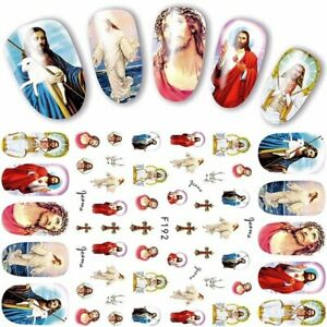 Nail Art Lace Stickers Decals Transfers Easter Jesus and Mary Cross F192