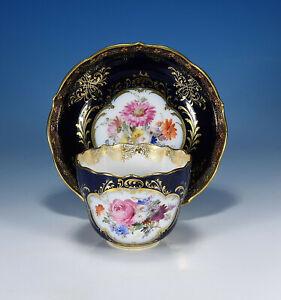 "Meissen "" Flower Bouquet Cobalt/Gold "" Antique Pageantry Mocha Cup & Saucer"