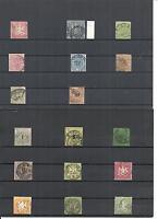 Württemberg 1851, Einzelmarken/Sätze aus Michelnrn.: ex 1 - 62 o, gestempelt o