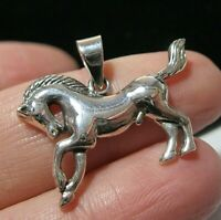 Beautiful Sterling Silver 3D Running Horse Necklace PENDANT
