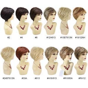 Short Layered Wigs for Women with Bangs Natural Look Kanekalon Synthetic Hair US