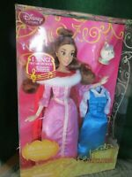 Disney Store Singing Beauty And The Beast Belle Princess Doll Pink Winter Dress