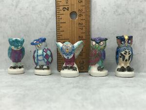HEAVENLY OWLS Aqua Blue Owl Hand Painted French Feves Tiny Figurines Miniature