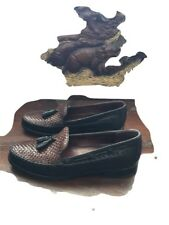 Cole Haan Womens Black&Mahogany Brown Leather Weaved Tassle Loafers F3584 Sz7.5B