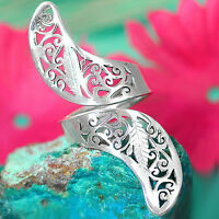 Solid 925 Sterling Silver Long Ring Adjustable Hollow Swirls Leaf Statement 6-9