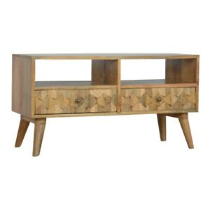Pineapple Carved Media Unit Handcrafted Solid Wood H47 x W85 x D35 cm