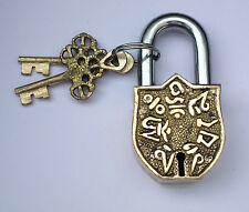 An unusual Genuine Brass Made NEPALI SYMBOLS / Letters PADLOCK 2 keys from India