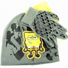 Spongebob Squarepants Boy's Grey Knit Beanie Hat & Glove Set