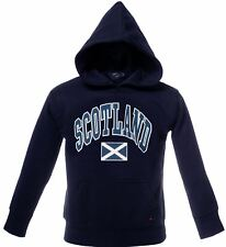 Children's Harvard Style Hooded Jumper With Scotland Text In Navy 7-8 Years